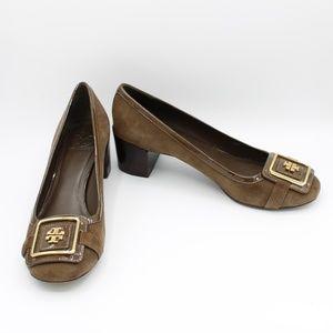 Tory Burch Brown Suede Block Heel Pumps Shoes 8.5